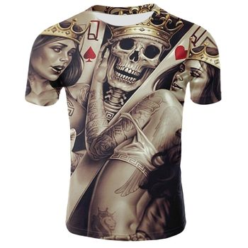 New 3D printed skull man horror t-shirt punk style gothic male hip hop punisher