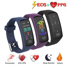 цена на E07 Smart Fitness Bracelet Heart Rate Monitor Tracker Smart Wristband ECG PPG Blood Pressure Smart Watch for IOS Android