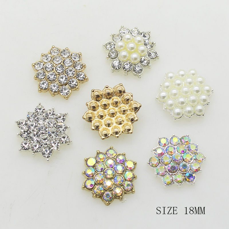 Hot Sale 10Pcs/lot 18mm Alloy Decoration metal rhinestones diamond button diy girl hair accessory Wedding Invitation Mix image