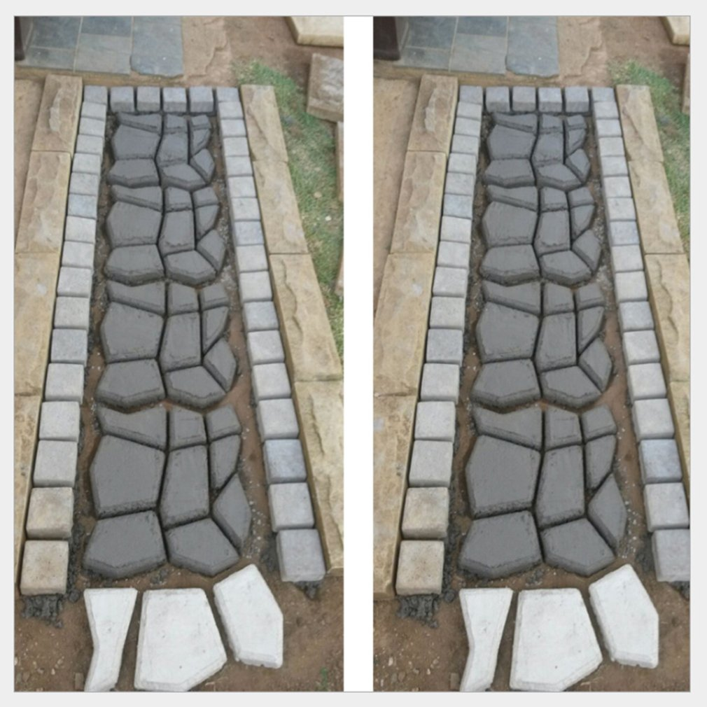 cheapest Paving Cement Brick Concrete Molds Garden Pavement Mold DIY Paving Cement Brick Stone Road Path Maker Reusable Garden Tools