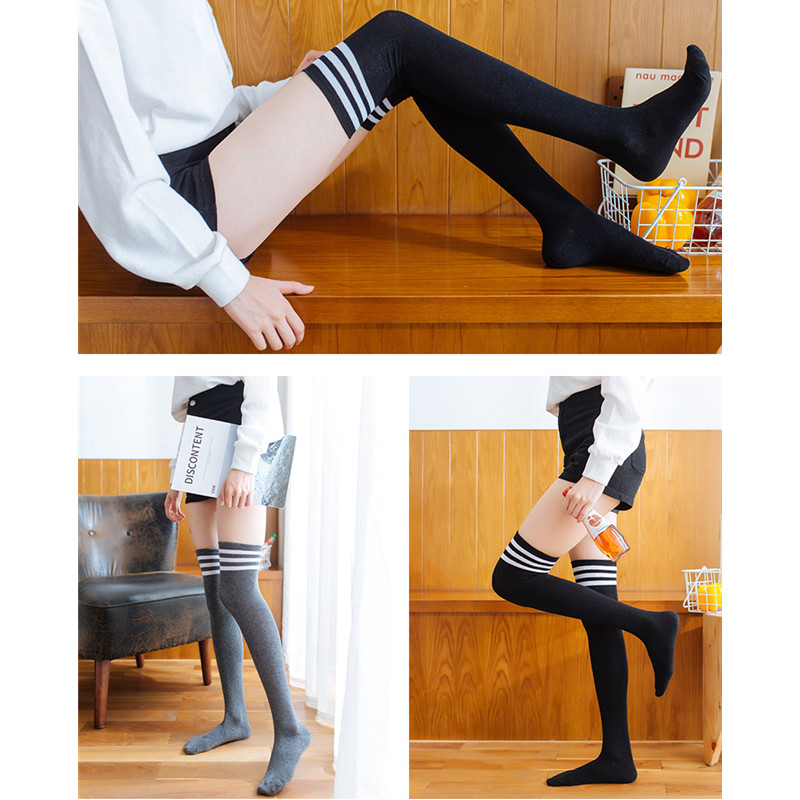Warm Thigh High Socks For Ladies Girls New Fashion Striped Knee Socks Women Sexy Socks Striped Long Socks Women Long Stocking