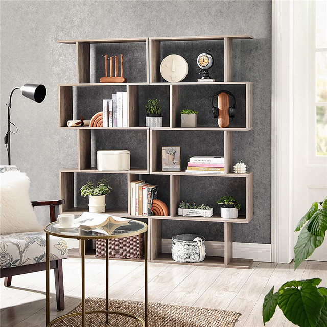 Staggered Bookcase Wooden Industrial Style 5-Tier Display Rack Room Divider Freestanding Storage Shelf Bookshelf Vintage Color 5