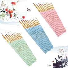 10Pcs Round Pointed Spike Tip Oil Painting Brushes Nylon Hair Artists Watercolor Paintbrushes Drawing Pen Tools Set