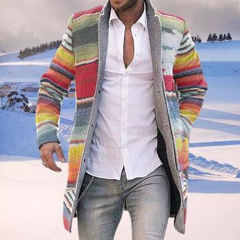 Chaqueta de Abrigo de rayas para Hombre, cárdigan con capucha, manga larga...