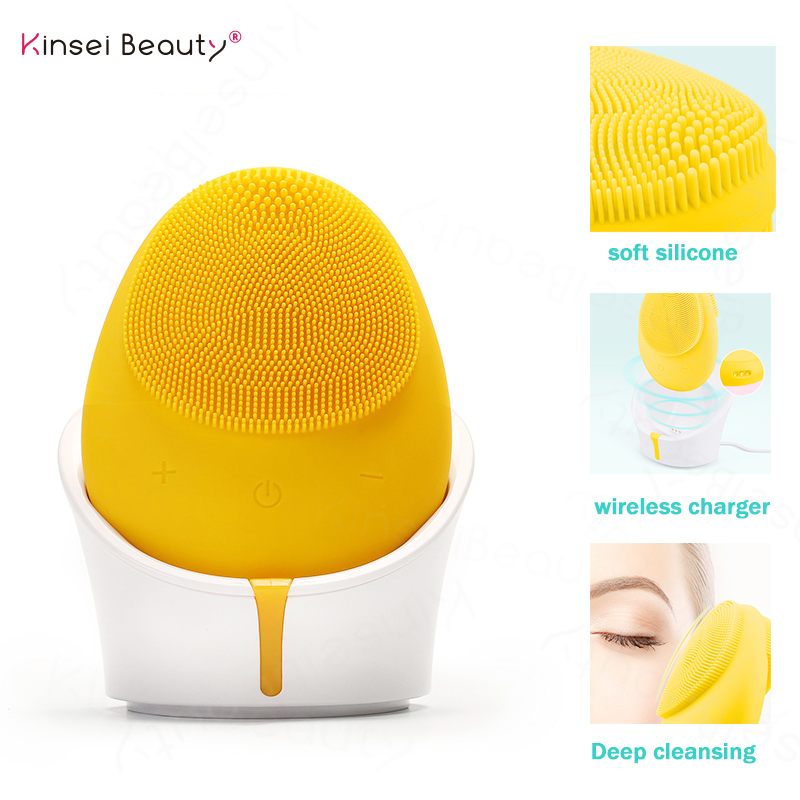Face Cleansing Brush Silicone Facial Cleansing Brush Sonic Face Brush Pore Acne Blackhead Cleanser Wireless Rechargeable