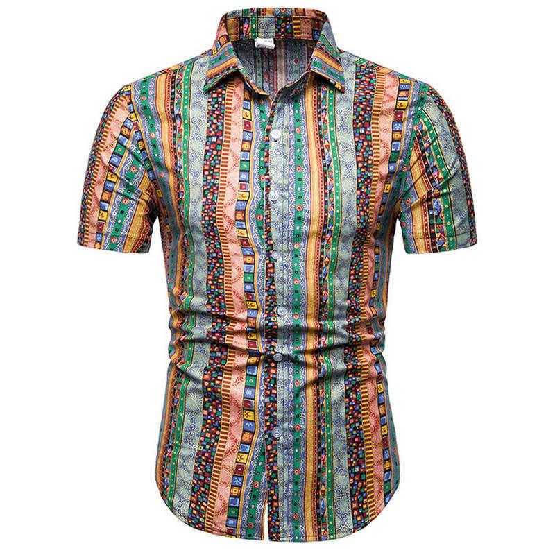 Рубашки, мужские неформальные рубашки, пляжные рубашки с мужских рубашек, с короткими рукавами, летние мужские рубашки, азиатские рубашки, Р...