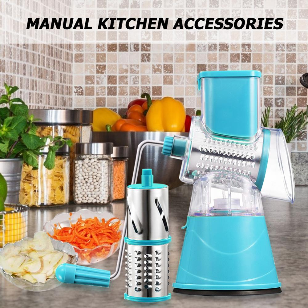 다기능 수동 슬라이서 야채 과일 라운드 커터 분쇄기 슈레더 가정용 주방 푸드 프로세서