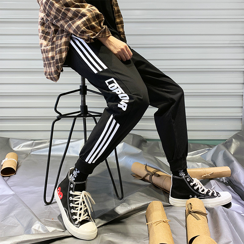 Trend MEN'S Sweat Pants Men's Spring Black And White With Pattern Casual Pants Printed Elastic Waist Thinner Pants Casual Knit P
