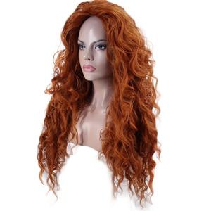 Image 3 - Anogol Free Part Brave Merida Wig Long Orange Deep Wave High Temperature Fiber Synthetic Hair Princess Cosplay Wig for Halloween