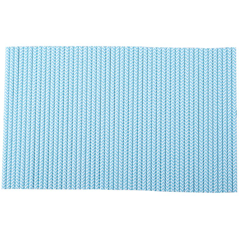 2 Packs Paper Straws Birthday Wedding Baby Shower Party Stripes, Lake Blue
