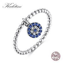 KALETINE Lucky Evil Eye Ring 925 Sterling Silver Rings Blue Eyes Stone Pendant Charm CZ Cute Ringlet for Women Turkey Jewelry