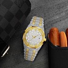 3 цвета Для мужчин two tone бриллиантовые часы льдом bling мужские