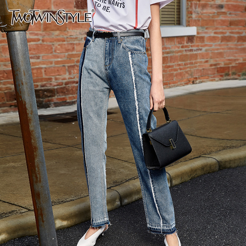 TWOTWINSTYLE Vintage Patchwork Women Jeans High Waist Hit Color Tassel Straight Denim Pants For Female Fashion Clothing 2020 New