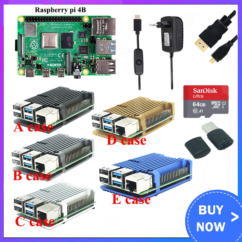 Raspberry Pi 4 Model B 8GB Kit    Aluminum Case   3A Switch Power   HDMI Cable Option 64 32GB SD Card Reader