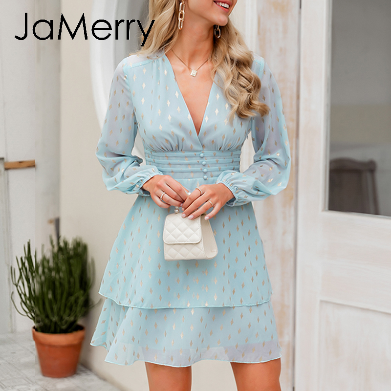 JaMerry Sexy Deep V Neck Chiffon Party Dress Women Print Ruched High Waist Short Dress Lantern Long Sleeve Summer Dress Vestidos