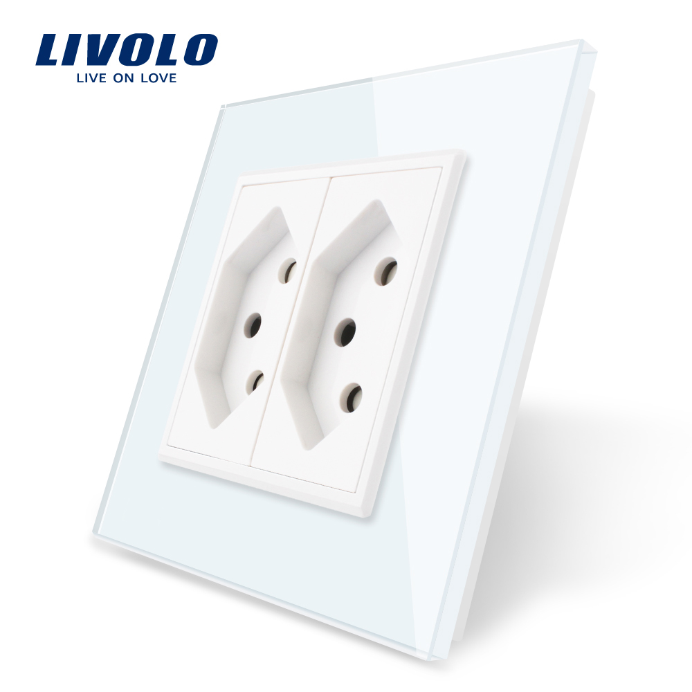 Livolo EU Standard Two Gang Switzerland Power Socket, Colorful Crystal Glass Panel,switzerland  16A Double Wall Power Socket