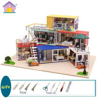 DIY House Dolls Building Model Toys Your Name Dollhouses Home Miniature Furniture Decorations Christmas Gift For Children 13843