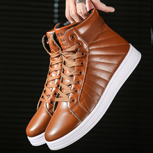 Boots men Lace up Warm short plush Comfortable Winter shoes Platform male PU leather Ankle boots for men fashion snow boot цена в Москве и Питере