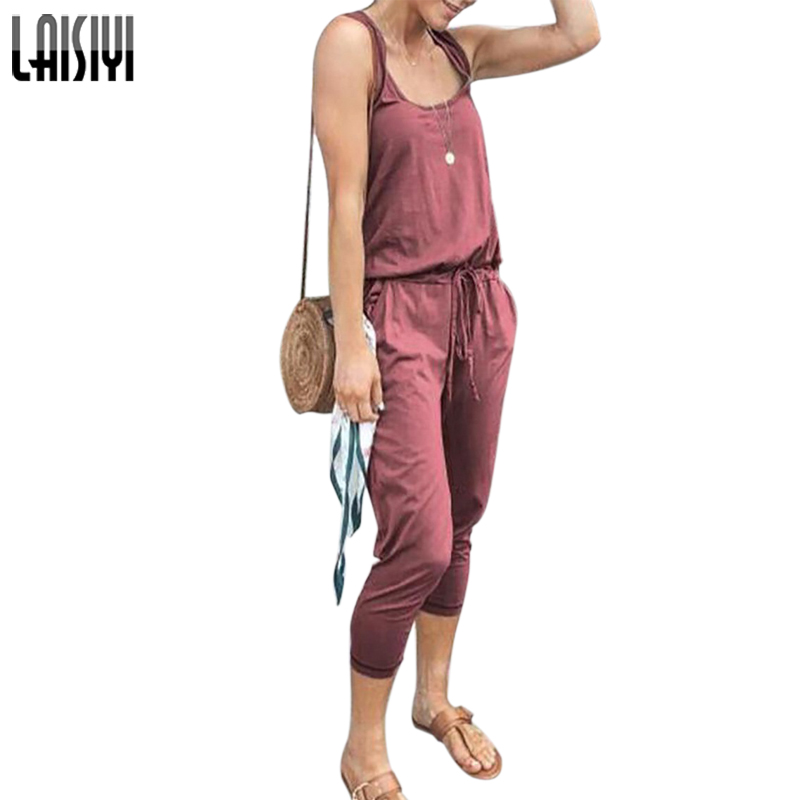LAISIYI Women Casual Solid Sleeveless Jumpsuit Loose O Neck Lace Up Rompers With Pockets 2019 Summer Combinaison Femme ASJU20504