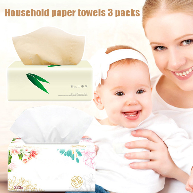 3 Packs Soft Pure Facial Tissues Paper Napkins Household Office Paper Towels H9