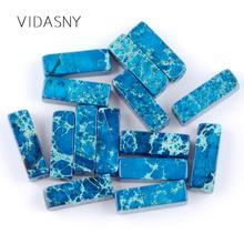 Natural Gem Column Shape Light Blue Sea Sediment Jaspers Tube Beads For Jewelry Making 4*13mm Loose Diy Bracelet 15