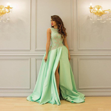 Amazinng Mint Green Top Illusion Lace Prom Dresses With Sexy
