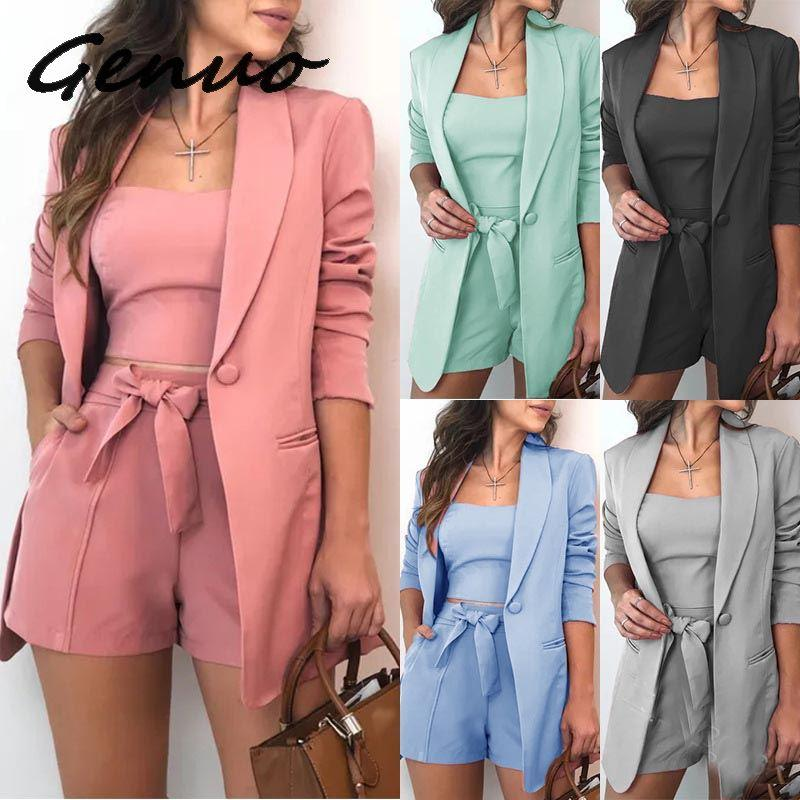 Genuo New Fashion 3 Piece Set Summer Women Fashion Lace Up Shorts Slim Fit Bra Tops Long Sleeves Coat Loose Suit Jacket
