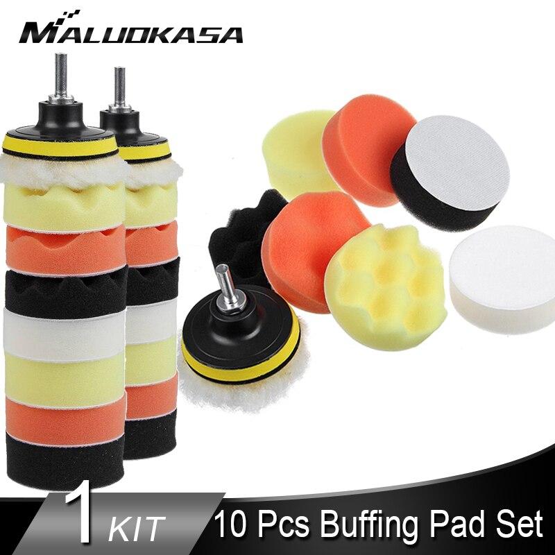 3''4''5''6''7'' 10Pcs Buffing Pad Set Thread Abrasive Sponge Car Polishing Pad Kit For Car Polisher Drill Adaptor Car Accessory