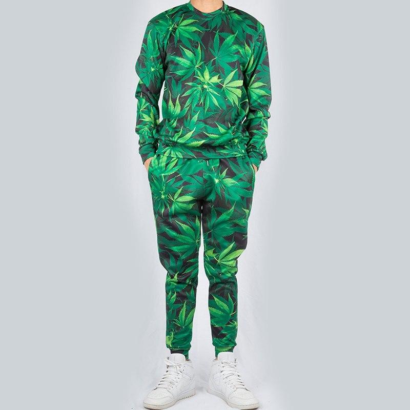 Fashion Men Women Joggers Tracksuit Set Harajuku 3d Green Leaf Weed Pullover Sweatshirt Sweatpants Unisex Outfits Custom S-6XL (9)