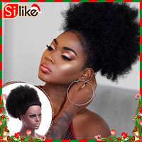 Silike synthétique court Afro crépus cordon queue de cheval haute température poney queue pince dans l'extension de cheveux sur bouffée cheveux chignon