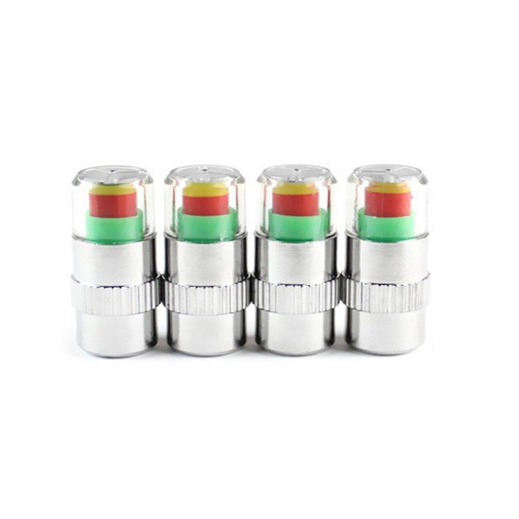 4pcs/set Car Tire Pressure Monitor Valve Stem Caps Air Alert Tire Valve Cap Pressure Sensor Monitor Light Cap Indicator