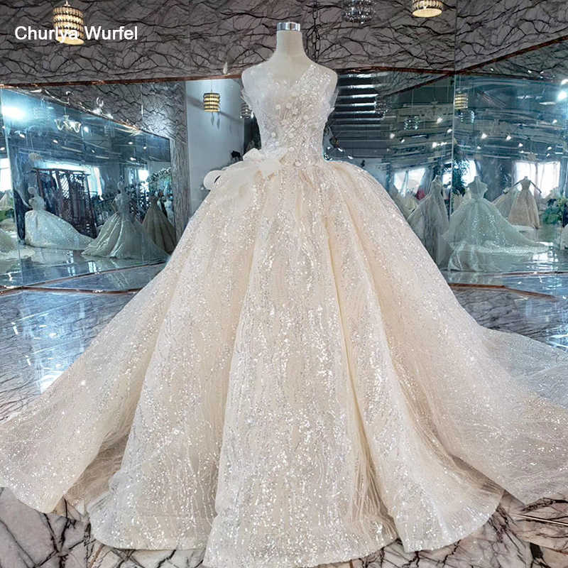 HTL354 shiny strapless Wedding Dress 2019 sleeveless big bow Ball gown bridal wedding gowns long train vestido novia encaje