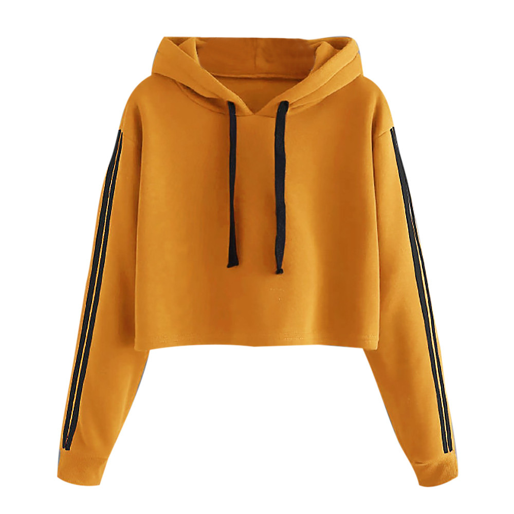 Drawstring Hoodie Sweatshirt Tape-Sleeve Crop-Tops Yellow Striped Women Casual Tops-De-Mujer title=
