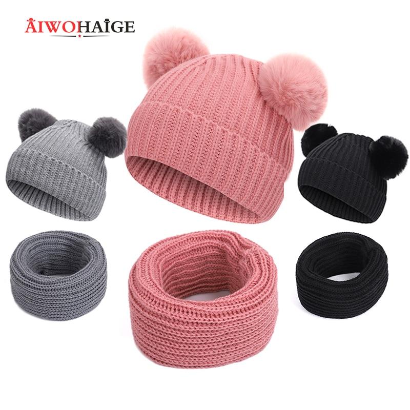 2019 New Winter Baby 2 Piece Winter Hat Scarf Fur Baby Hat Hat Cotton Pom Pom Knit Warm Hat Kid Furry Ball Hat Set Hat
