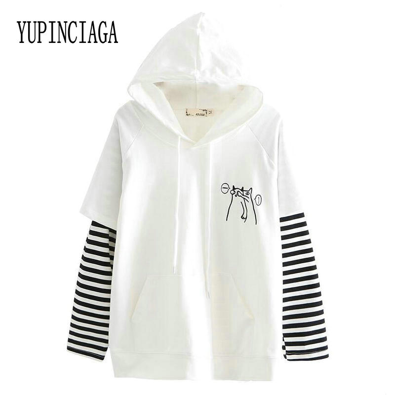 YUPINCIAGA Women Hooded Sweatshirts Spring Fall Striped Long Sleeve Pullover Femme Cartoon Dog Embroidery Harajuku Hoodies Girls