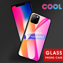 NEVER GIVE UP Tempered Glass Cases For IPhone 11 Pro Max XS MAX XR i8 Plus i7 i6 i6s Shockproof Gradient Bumper