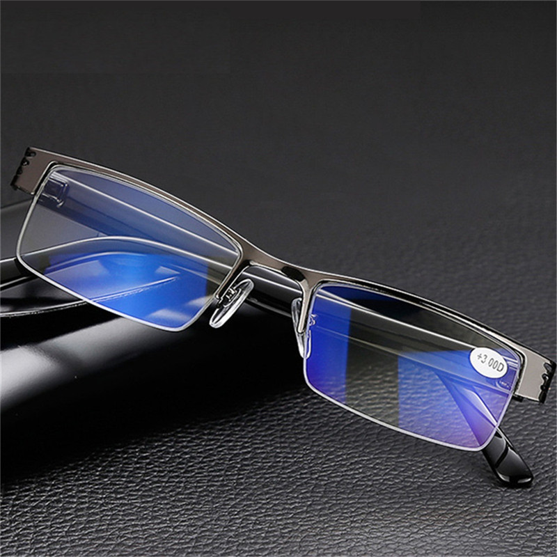 Anti Blue Reading Glasses Men Women Classic Black Half Frame Hyperopia Eyeglasses Eyewear +1.0+1.5+2.0+2.5+3.0+3.5+4.0 Diopter