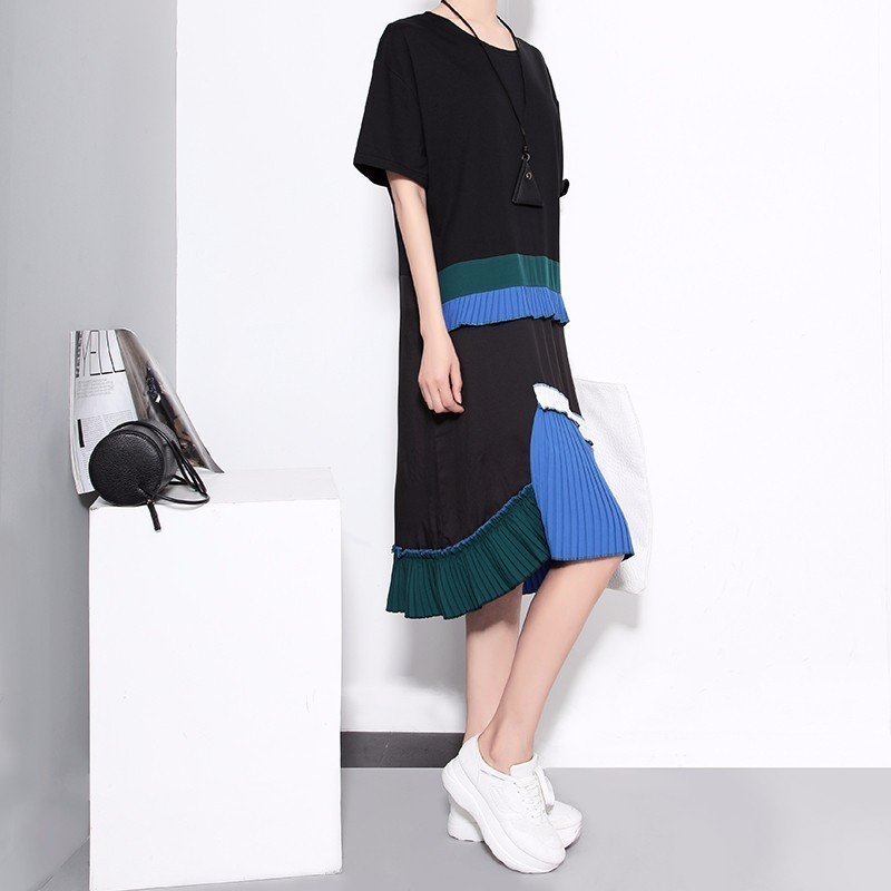Short Sleeve Pleated Irregular Loose O-Neck Dress 4