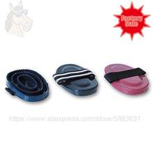 Curry Comb Brush Horse-Grooming-Kits Plastic with Ribbon for Fixing Hand Big Soft-Touch