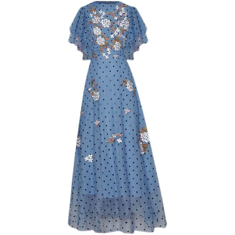 Long Dress High Quality Summer New Women'S Designer Party Elegant Chic Ruffled Flower Embroidery Mesh Polka Dot Fashion Dresses
