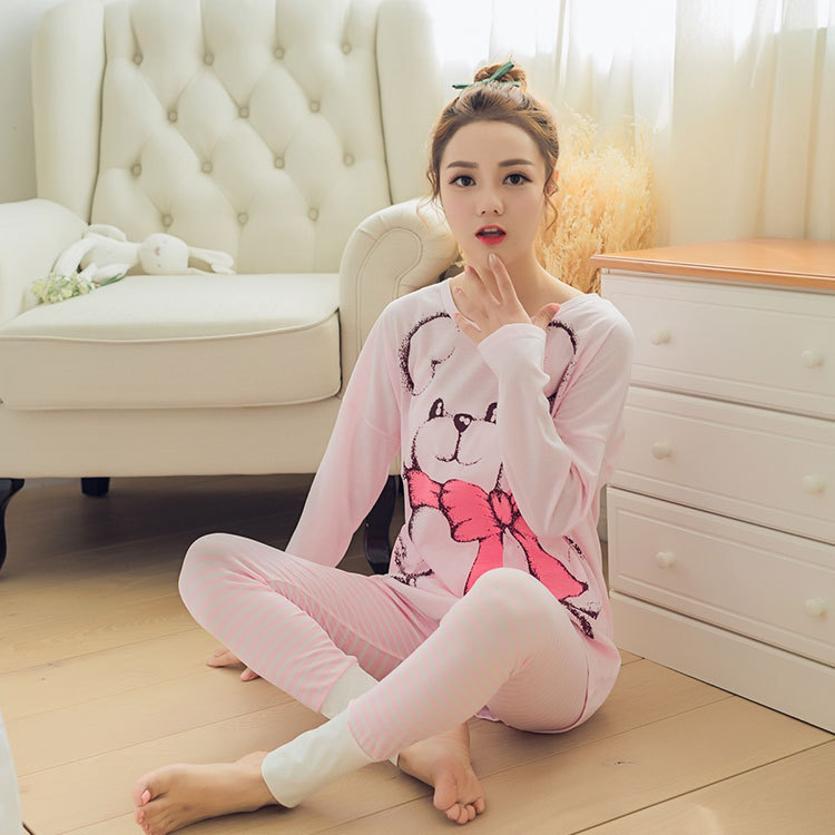 Spring And Autumn Bow Bear Pajamas Women Long Sleeve Pink Tracksuit Stripes Pajama Pants Women's Large Size Knitted Cotton Set