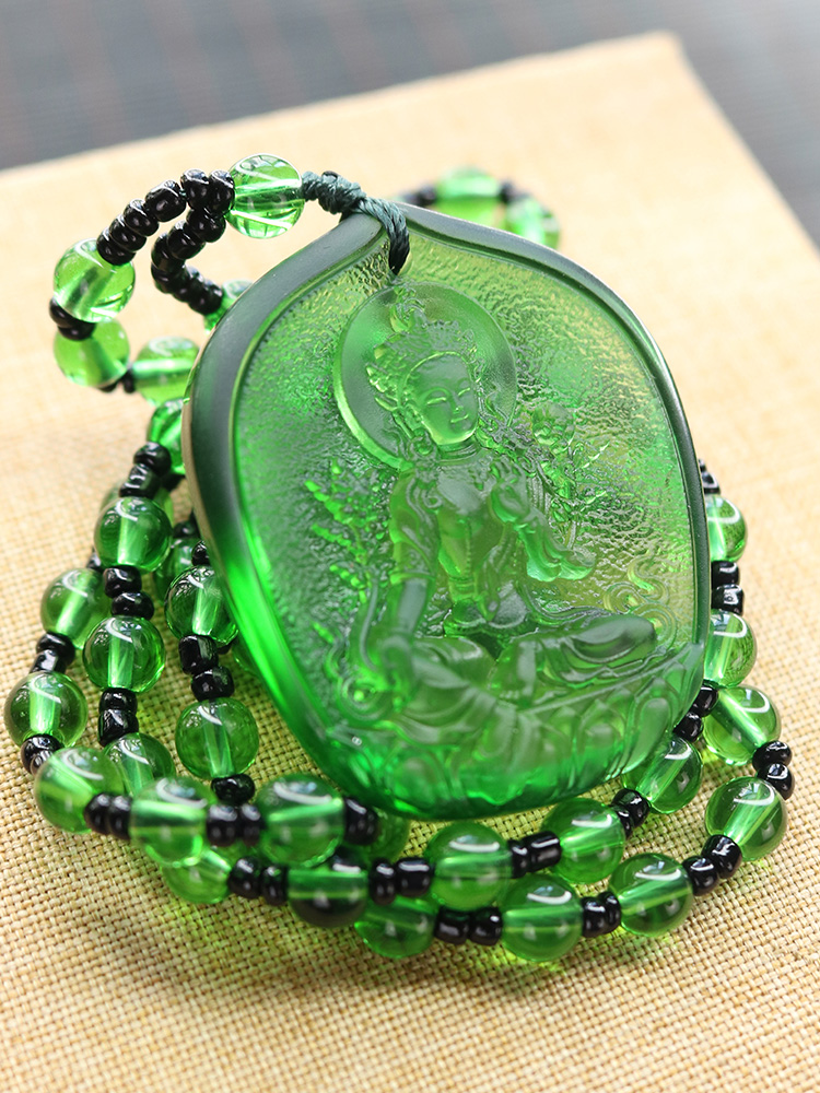 2020 Pocket Travel Efficacious Mascot Bless Safe Luck Green Tara  Guanyin Buddha Avalokitesvara Crystal Pendant Buddhist Amulet