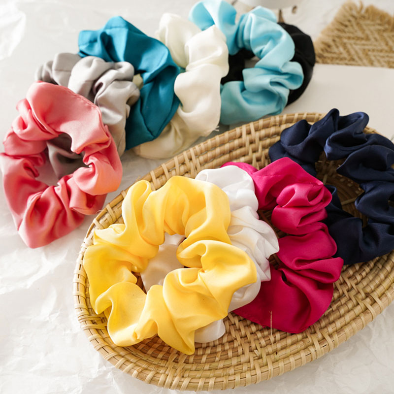 1PC Women Glossy Satin Scrunchies Solid Color Hair Ties Rope For Girls Rubber Bands Elastic Hair Bands Ladies Hair Accessories