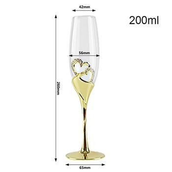2Pcs/Set Crystal  Gold Metal Stand Flutes Wine Glasses  3
