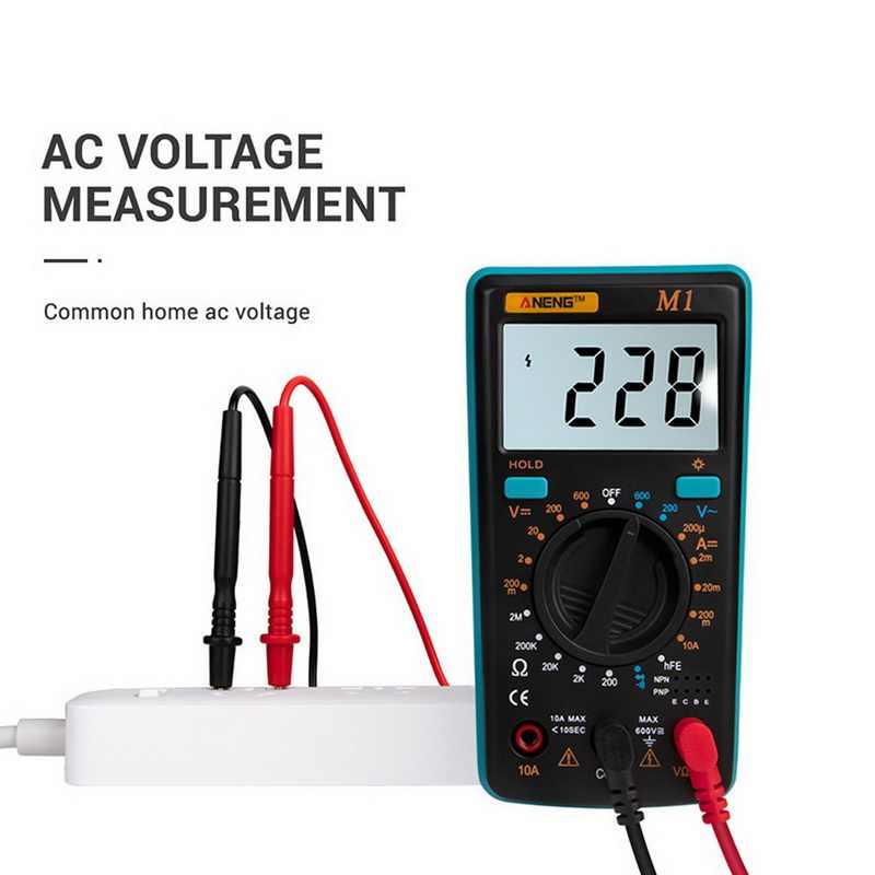 M1 Multimeter Draagbare Lcd Digitale Multimeter Backlight Ac/Dc Amperemeter Voltmeter Ohm Tester Meter Handheld Multimeter Tester