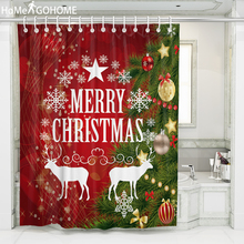 Christmas Shower Curtains for Bathroom Waterproof Curtain 3D Bathroom Shower Washable Bath Curtain For Christmas Bathtub Decor