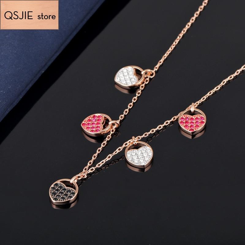 High-quality SWA Classic Graduation Heart-shaped Original Pendant Necklace