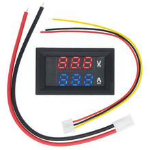 Current-Meter Voltage-Detector Dual-Display 50pcs 0-100V Panel-Amp Blue Red DC 10A