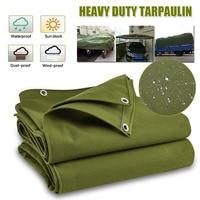 Army Green Heavy Duty Canvas Tarp Tarpaulin Waterproof Rainproof Dustproof Cover Wear Resistant Sunshade Car Truck Sun Shade