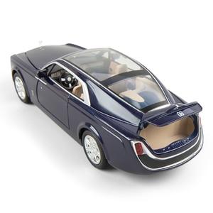 Image 2 - 2020 1/24 Diecast Toy Vehicl Rolls Royce Phantom Car Model Wheels Alloy Sound Light Pull Back Car Kid Toy Car Christmas Gift